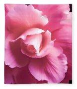 Dramatic Pink Begonia Floral Fleece Blanket