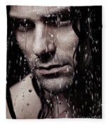 Dramatic Portrait Of Young Man Wet Face With Long Hair Fleece Blanket