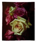Dramatic Purple And Yellow Roses Fleece Blanket