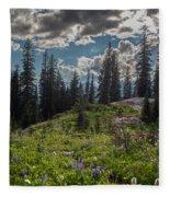 Dramatic Rainier Flower Meadows Fleece Blanket