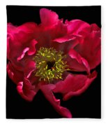 Dramatic Red Peony Flower Fleece Blanket