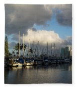 Dramatic Tropical Storm Light Over Honolulu Hawaii  Fleece Blanket