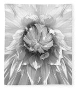 Dramatic White Dahlia Flower Monochrome Fleece Blanket