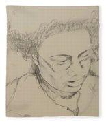 Drawing Of A Woman Fleece Blanket