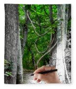 Drawn To The Woods With Imagination Fleece Blanket