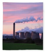 Drax Power Station At Sunset Fleece Blanket