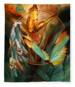 Dream Catcher - Spirit Of The Butterfly Fleece Blanket