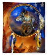 Dream Catcher - Wolf Dreams Patriotic Fleece Blanket