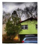Suburban Dream - House With Blue Car Fleece Blanket