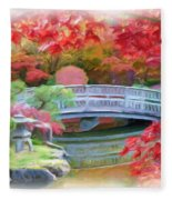 Dreaming Of Fall Bridge In Manito Park Fleece Blanket