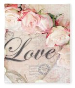 Dreamy Shabby Chic Roses Heart With Love - Love Typography Heart Romantic Cottage Chic Love Prints Fleece Blanket