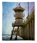 Dreamy Day At Huntington Beach Pier Fleece Blanket
