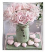 Shabby Chic Pink Roses - Romantic Valentine Roses Hearts Floral Prints Home Decor - Romantic Roses  Fleece Blanket