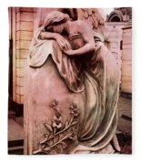 Dreamy Surreal Beautiful Angel Art Photograph - Angel Mourning Weeping At Gravestone  Fleece Blanket