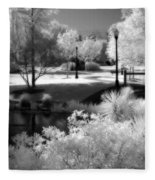 Surreal Infrared Black White Infrared Nature Landscape - Infrared Photography Fleece Blanket