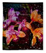 Drenched Flowers Fleece Blanket