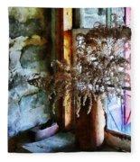 Dried Flowers On Windowsill Fleece Blanket