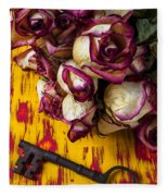 Dried Pink Roses And Key Fleece Blanket