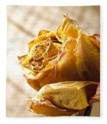 Dried Yellow Rose Fleece Blanket