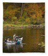 Drift Boat Fishermen On The Muskegon River Fleece Blanket