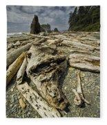 Driftwood And Sea Stacks On Ruby Beach Fleece Blanket