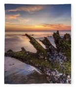 Driftwood On The Beach Fleece Blanket