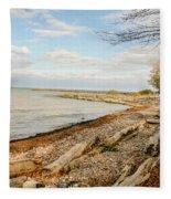 Driftwood On Shore Fleece Blanket