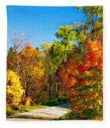 Driving Through Autumn Fleece Blanket