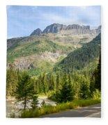 Driving Through Glacier National Park Fleece Blanket