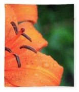 Droplets On Tiger Lily Fleece Blanket