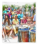 Drum Circle Of Friends Fleece Blanket