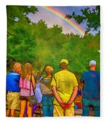 Drum Circle Rainbow Fleece Blanket