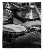 Drummer At Work Fleece Blanket