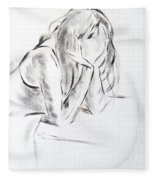 Dry Brush Painting Of A Young Womans Face Fleece Blanket