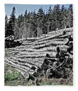Dry Firewood Fleece Blanket