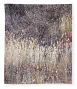 Dry Grasses And Bare Trees In Winter Forest Fleece Blanket