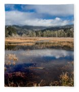 Dry Lagoon In Winter Panorama Fleece Blanket