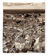 Dubrovnik Rooftops And Lokrum Island Against The Dalmatian Adriatic Sepia Fleece Blanket