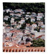 Dubrovnik Rooftops Domes And North East Walls Against The Mountains From The Sea Walls Fleece Blanket
