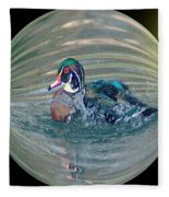 Duck In A Bubble  Fleece Blanket