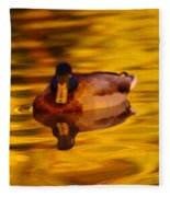 Duck On Golden Water Fleece Blanket