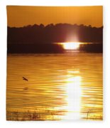 Duck On Sunset Fleece Blanket