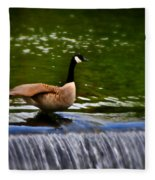 Duck On The River Wye Waterfall - In Bakewell Peak District - England Fleece Blanket