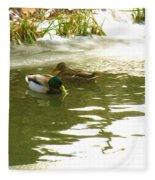 Duck Swimming In A Frozen Lake Fleece Blanket