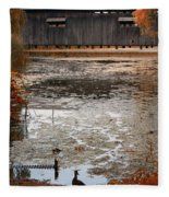 Ducking Under The Bridge Fleece Blanket