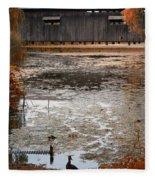 Ducking Under The Bridge Fleece Blanket