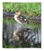 Duckling With Reflection Fleece Blanket