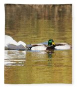 Ducks And Egret Fleece Blanket