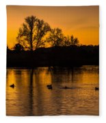 Ducks At Sunrise On Golden Lake Nature Fine Photography Print  Fleece Blanket