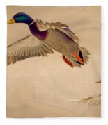 Ducks In Flight Fleece Blanket